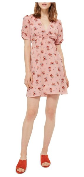 Topshop kate floral tea dress in blush multi - Wildflower bouquets add to the undeniable vintage...