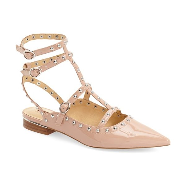 Topshop kate pointy toe flat in nude patent - Polished dome studs highlight the pointy-toe silhouette...