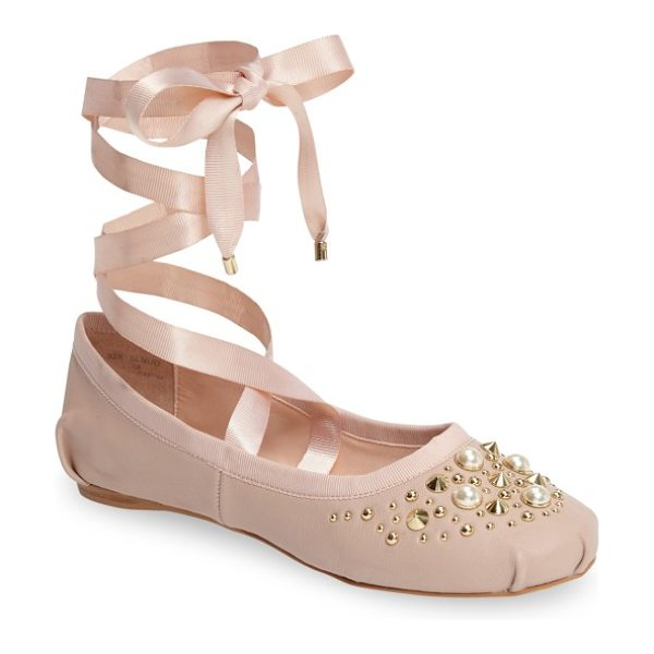 Topshop kisses ballet flat in nude - Pearly beads and polished cone studs add eye-catching...
