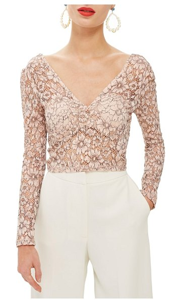 Topshop lace crop plunge top in pink - Lovely lace blankets this feminine crop top styled with...