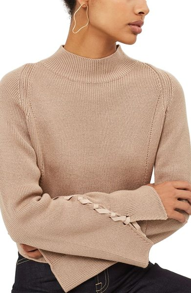 Topshop lace sleeve funnel neck sweater in mink - Long, flared sleeves with lace-up detailing make a fresh...
