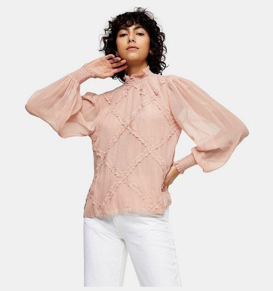Topshop lace trim blouse in blush-pink in pink