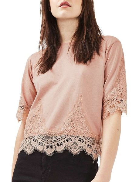 Topshop lace trim tee in blush - Even a denim-and-tee kind of gal can get a little girly...