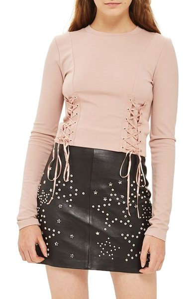 Topshop lace-up crop top in nude - Slender ribbon laces define the figure and add...