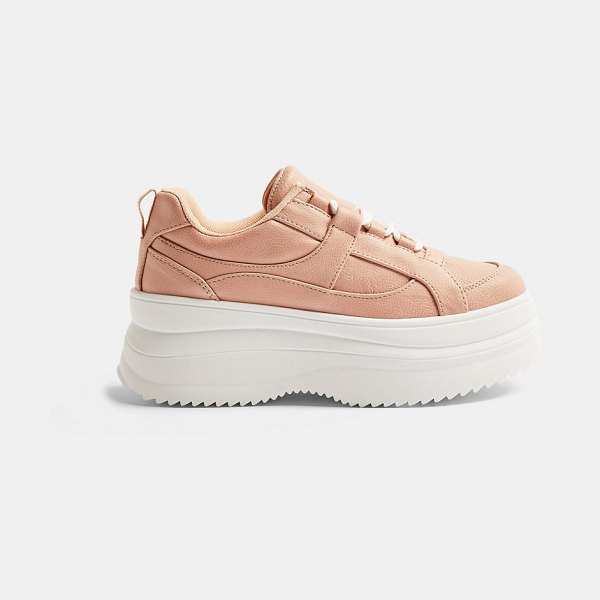 Topshop lace up flatform sneakers in blush-pink in pink