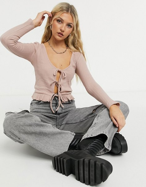Topshop lace up front cardigan in dusty pink in pink