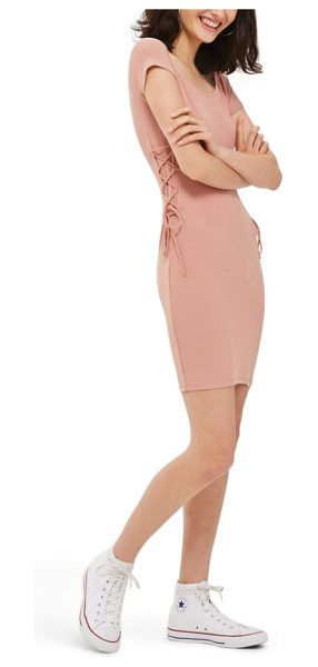 Topshop lace-up side body-con dress in pink - A soft, stretchy, body-con dress doesn't hold back on...