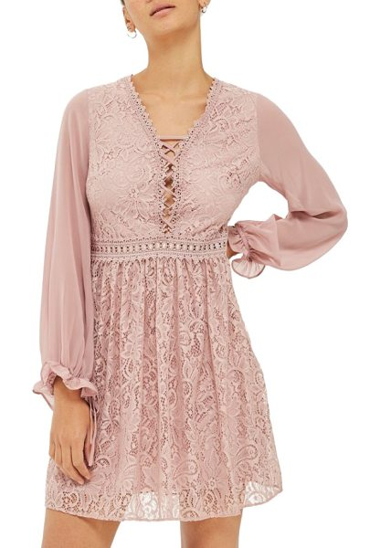 Topshop laced back minidress in dusty pink - A lacy little minidress with corset detailing is only...