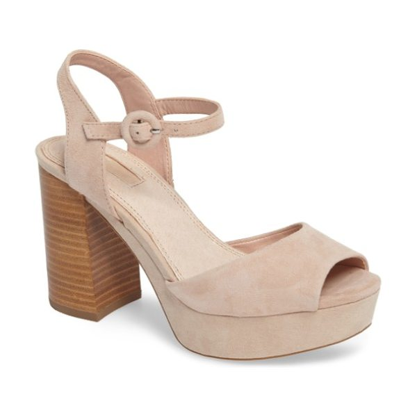 Topshop 'lana' chunky platform sandal in nude - A chunky flared heel and a wrapped platform help this...