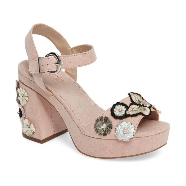Topshop laney embellished platform sandal in nude - Embroidered butterflies flit about a garden of layered...