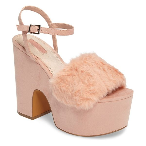 Topshop lash faux fur sandal in light pink - A strip of fluffy faux fur tops the toe strap on this...
