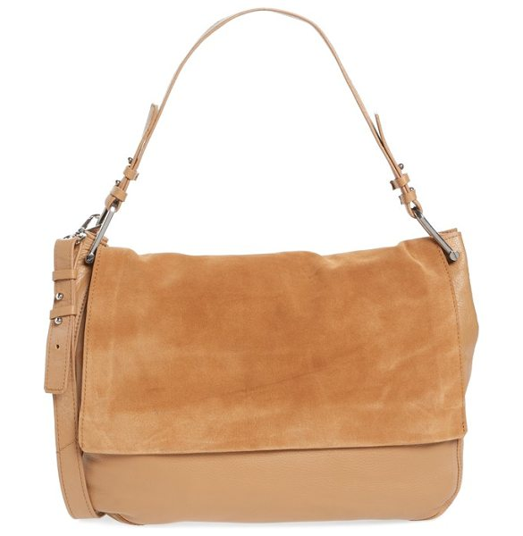 TOPSHOP leather hobo in beige - Smooth leather and suede define a spacious hobo bag...