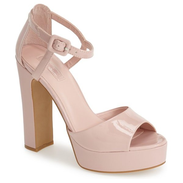 Topshop lena ankle strap platform sandal in light pink - A curvy ankle strap tops off this sky-high platform...