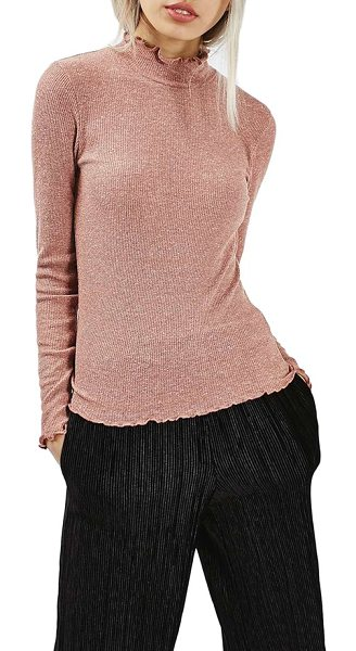 Topshop lettuce edge turtleneck in dusty pink - Wavy lettuce edges garnish a soft and feminine mock-neck...