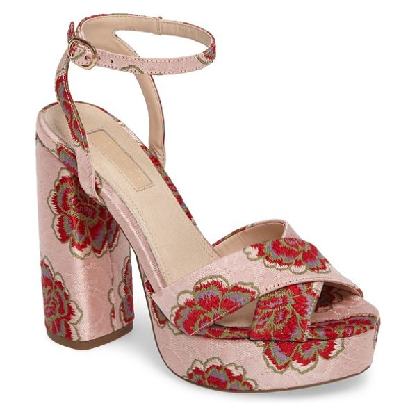 Topshop lollie embroidered sandals in light pink multi - Embroidered flowers heighten the glamorous appeal of a...