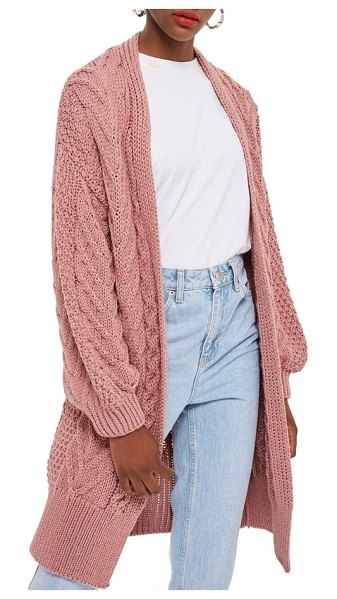 Topshop long open front cardi in pink - Cozy up to this irresistible, open-front cardi, knit...