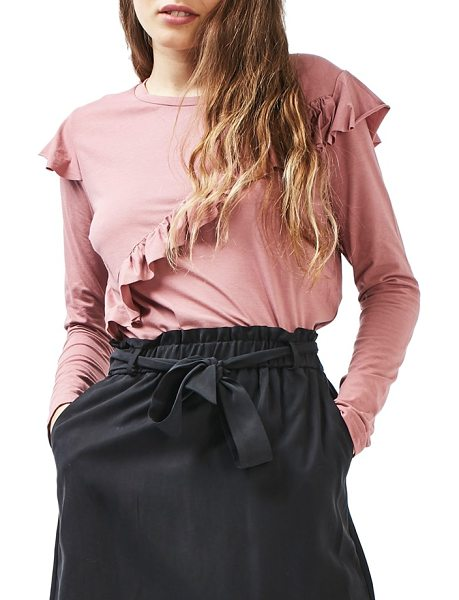 Topshop long sleeve ruffle tee in rose - Cascading ruffles along the front and shoulders elevate...