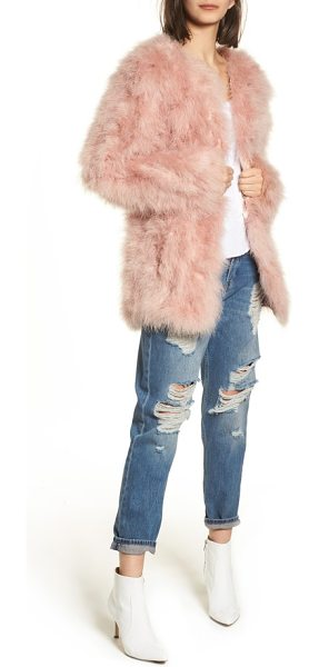 Topshop longline marabou feather jacket in pale pink - Like wearing cotton candy, a pale pink jacket made from...