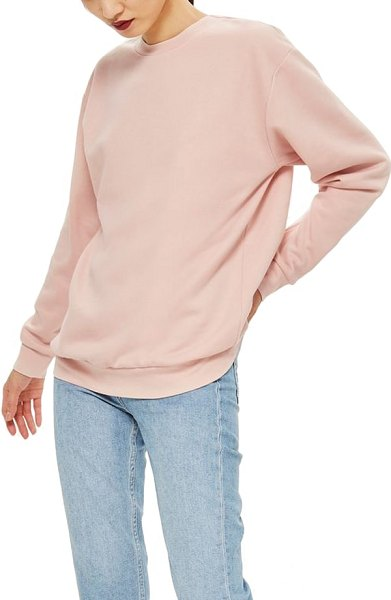 Topshop longline sweatshirt in light pink