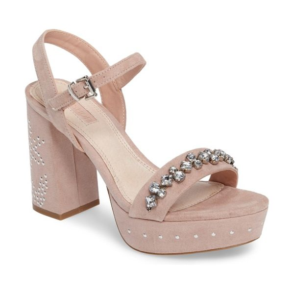 TOPSHOP lovely embellished platform sandal in nude - A band of multi-shaped crystals dances across the toe of...