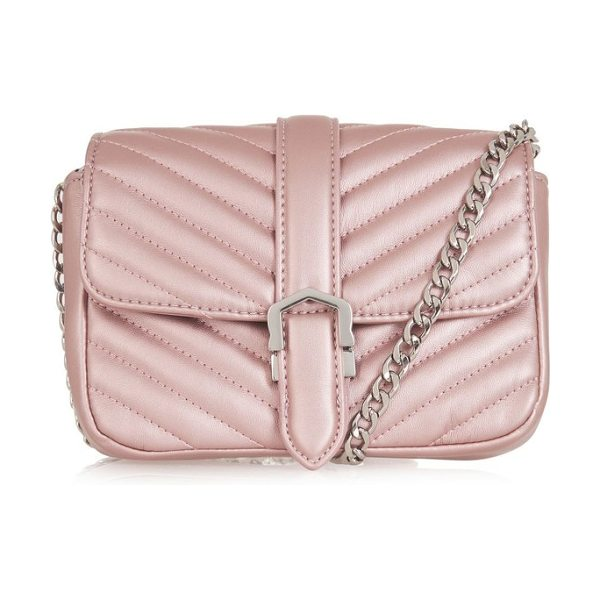 Topshop magic quilted faux leather crossbody bag in pink - A chevron-quilted faux-leather bag safely stores your...