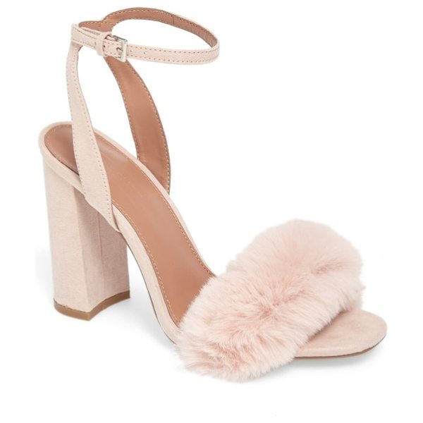 Topshop maison faux fur block heel sandal in nude - A tuft of plush faux fur adds fluffy texture to the...