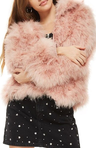 Topshop marabou feather jacket in light pink - Feathery, flamingo-pink marabou styles a fun and flirty...