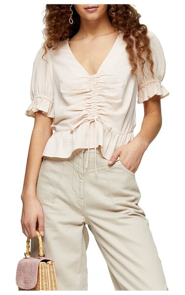 Topshop margot ruched top in pink