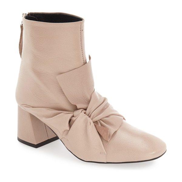 Topshop 'marilyn' square toe bow bootie in nude leather - Soft luxe leather embraces the instep of this beautiful...