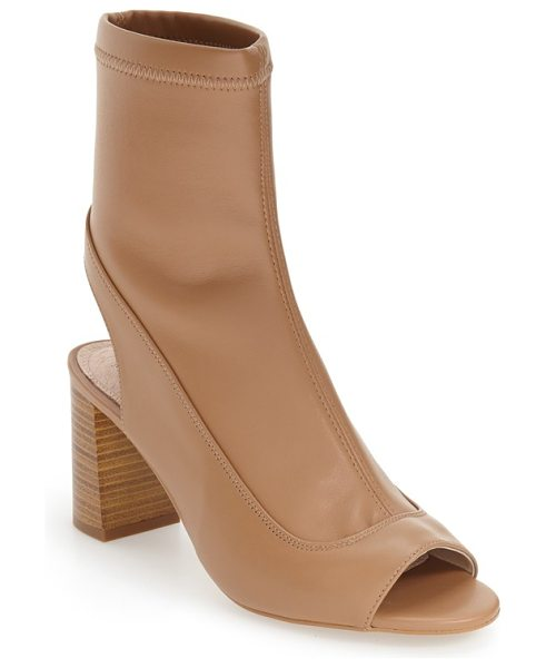 TOPSHOP 'melon' cutout stretch bootie in nude - A retro-inspired heel grounds a modern cutout bootie...