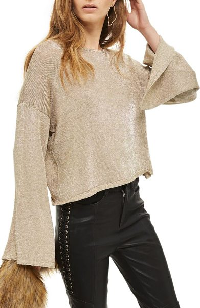 Topshop metallic flute sleeve crop sweater in gold - Be party-ready in a flash by slipping into this...