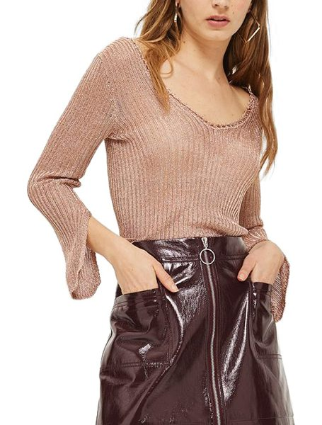 Topshop metallic rib sweater in rose gold - Cutaway cuffs add statement-making style to a shimmering...