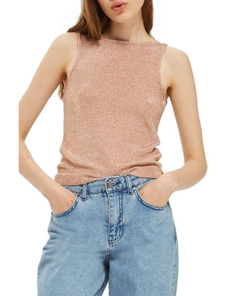 Topshop metallic v-back knit tank in rose gold - Slinky metallic knit comes back from the '90s on this...