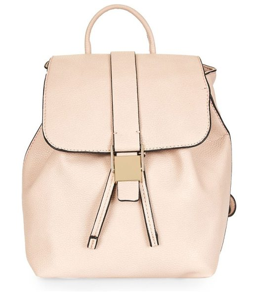 Topshop mini glasgow faux leather backpack in camel - A polished clasp and fold-over flap secure all your...
