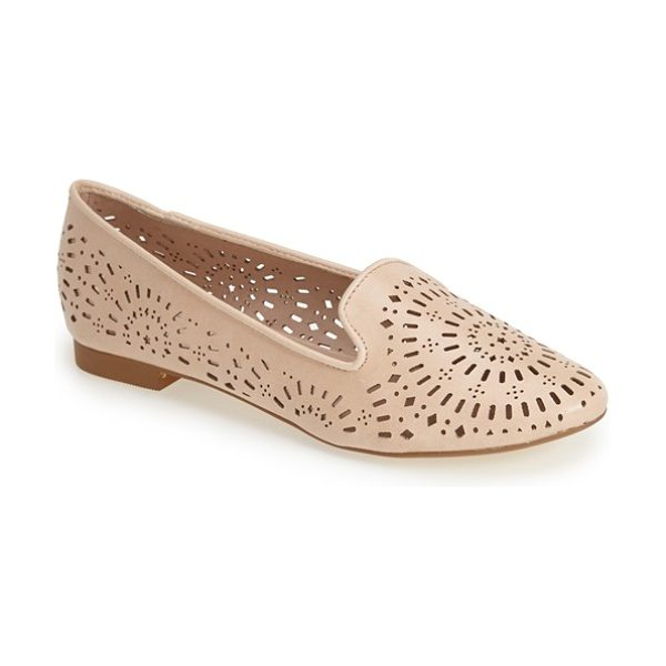 Topshop misty perforated flat in nude - Pretty perforations twirl all across a faux-leather flat...