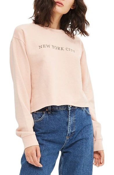 Topshop new york city embroidered sweatshirt in pink - A pale pink sweatshirt finished with a raw-cut hem...