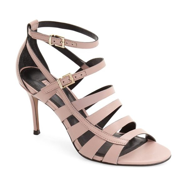 Topshop ninety strappy sandal in pink leather - Slim leather straps cross atop a sultry sandal set on an...