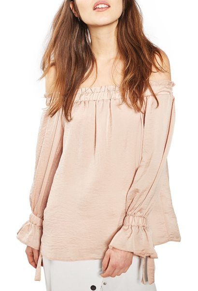 Topshop off the shoulder satin top in nude - Your bare shoulders steal the show in this luminous...