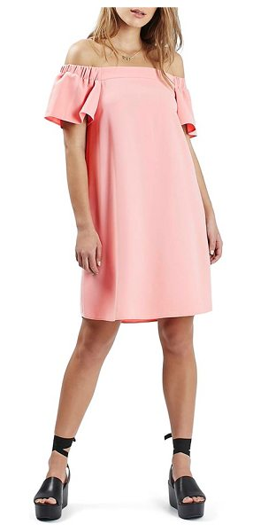 Topshop off the shoulder trapeze dress in blush - Short flutter sleeves complete the unstructured...