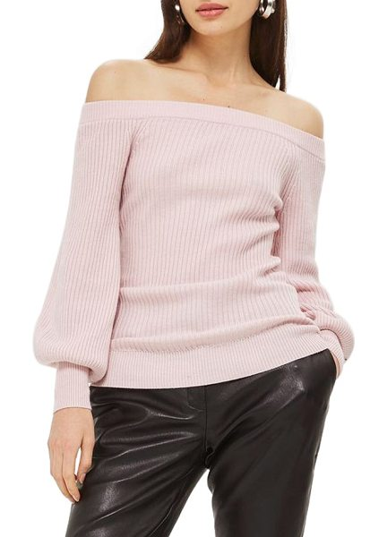 Topshop off the shoulder sweater in pink - Billowy bishop sleeves and a shoulder-skimming neckline...