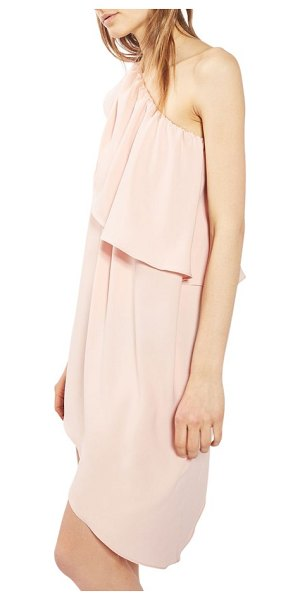Topshop one-shoulder popover shift dress in nude - Wedding guest, bridesmaid or just another spring dream:...