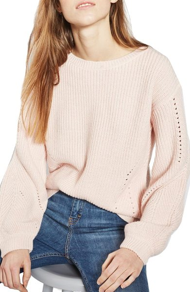 Topshop open back sweater in light pink - A wool-kissed open-back sweater with open pointelle...