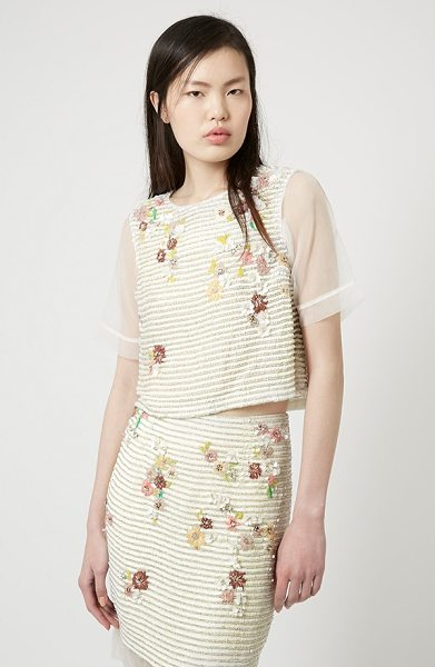 TOPSHOP organza sleeve floral top - Sheer organza sleeves add to the spring-ready style of a...