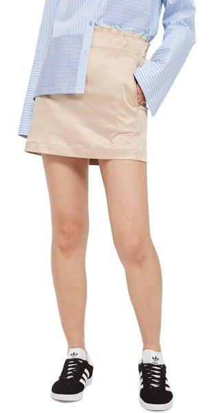 TOPSHOP paper bag poplin skirt - A ruffled stretch waistband slims the figure while...