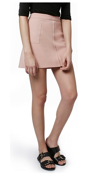 Topshop patch pocket crepe miniskirt in pink - Large patch pockets wrap each hip of a tailored...