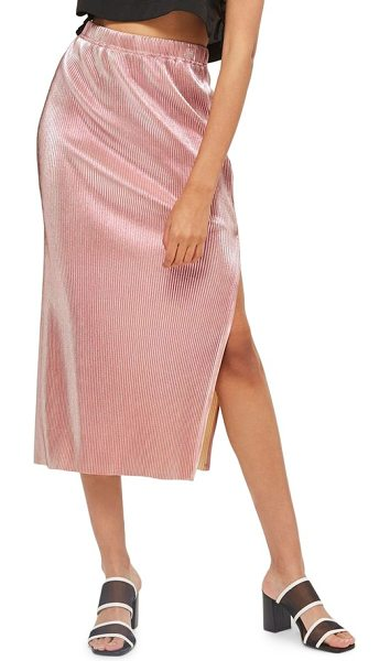 Topshop plisse pleated midi skirt in pink - A lightweight, crinkle-pleated midi skirt brings sleek...