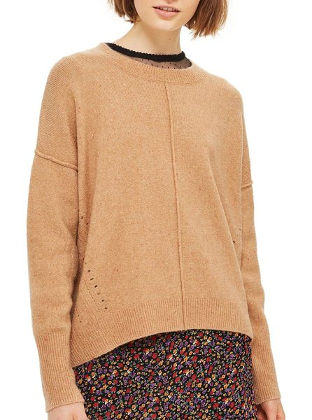 Topshop pointelle detail sweater in camel - Pointelle stitching at the sides and raised seams at the...
