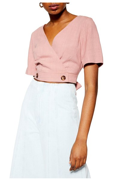 Topshop polly wrap front blouse in pink