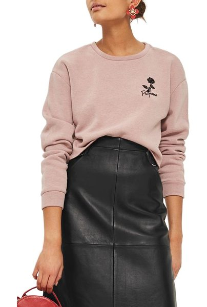 Topshop promises crop sweatshirt in nude - Delicate embroidery blooming at the chest elevates a...