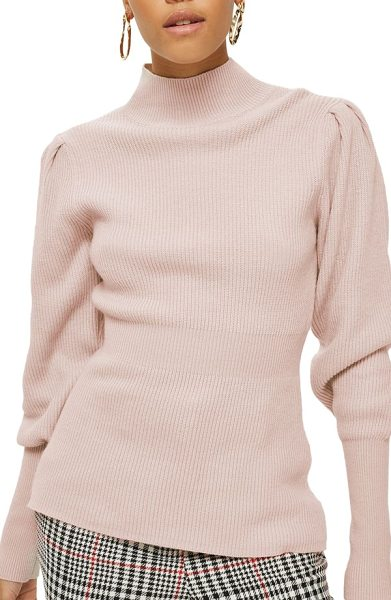TOPSHOP puff sleeve funnel neck sweater - Puffed sleeves. a nipped-in waist and blushing pink...
